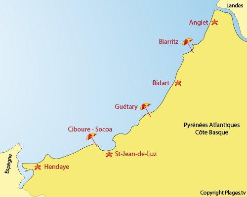 Spots de surf côte basque