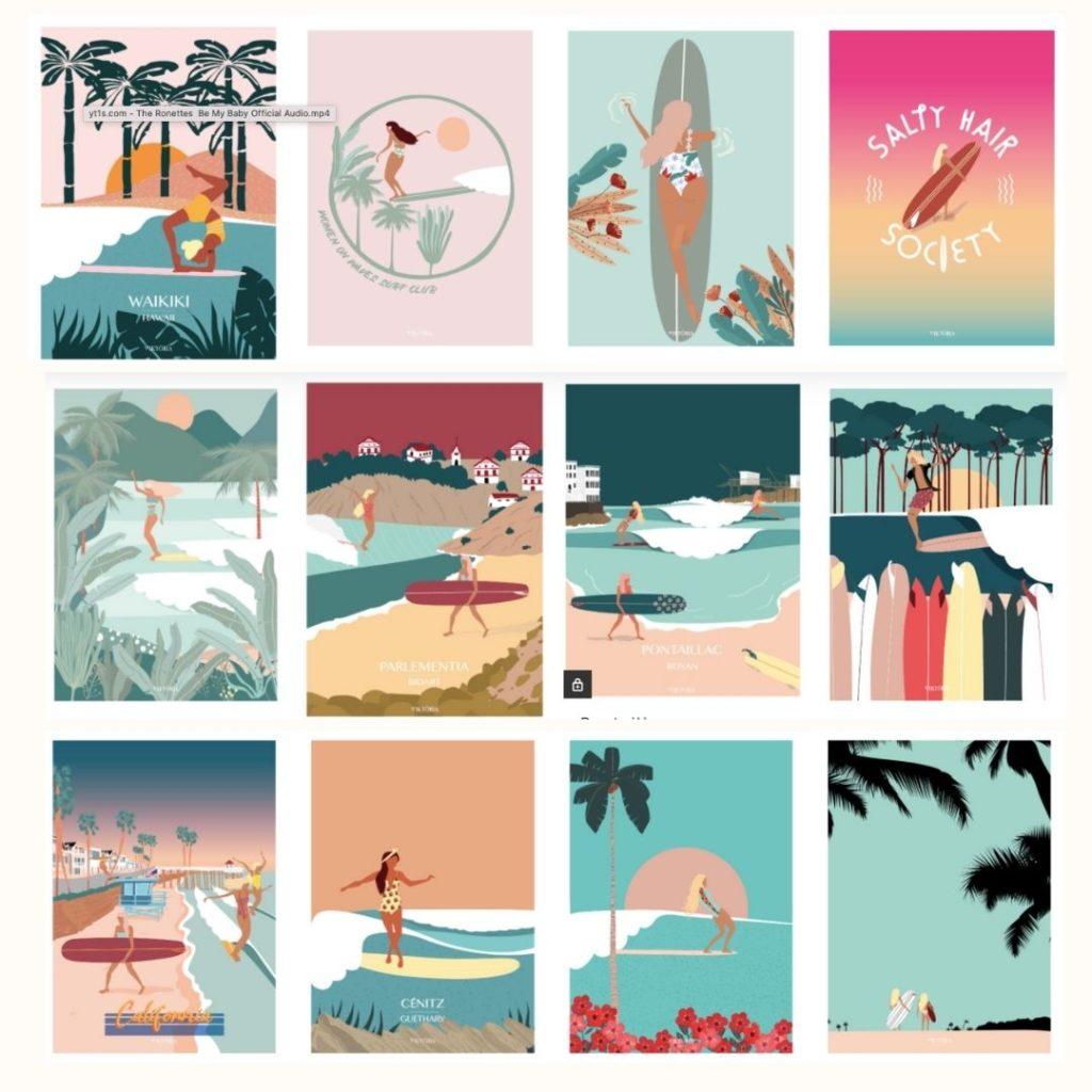Viktoria Surf Bag illustratrice Pays Basque
